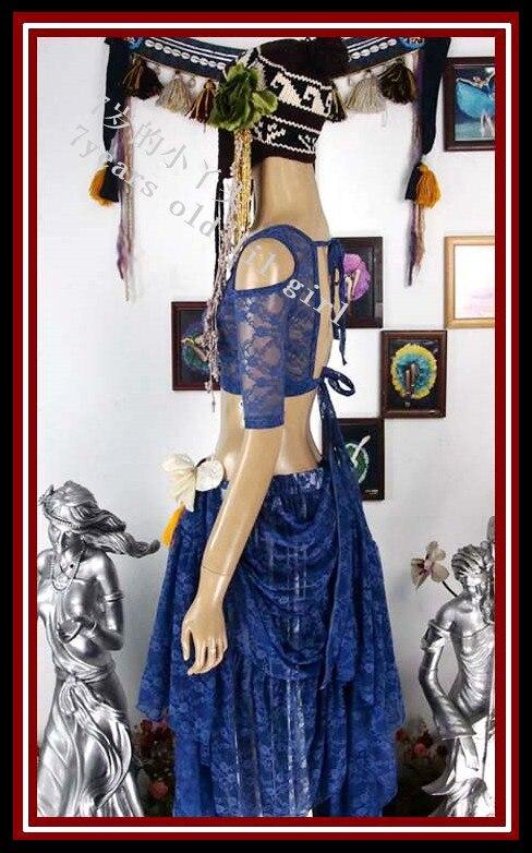 Top de encaje de danza del vientre Ats tribal danza del vientre top de encaje choli Drop manga corta top DQ89-94