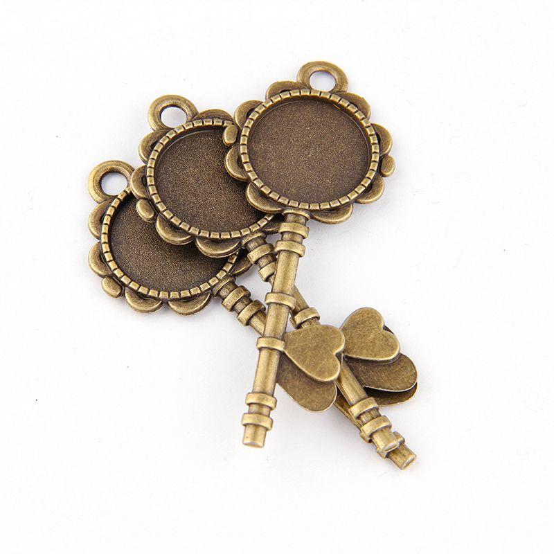 Ensemble de 5 pièces de clé damour   Bronze antique, Vintage alliage, style Cameo rond Cabochon, collier pendentif plateau 20mm, blancs de bijoux, bricolage