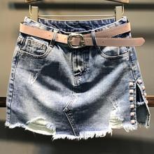 Jupe en jean printemps auutmn mode taille haute mini jupe femmes irrégulière fendu rivets jean jupe a-ligne grande taille 2XL