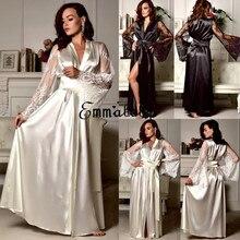 Nouvelle Lingerie vêtements de nuit Satin dentelle Sexy femmes Sissy manches longues lâche peignoir Kimono Babydoll robe de chambre V profond peignoir