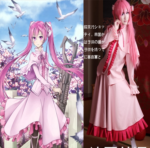Set completo akame ga uccidere miniera rosa costume cosplay harajuku anime costume di halloween 3 in 1 top + skirt + tippet