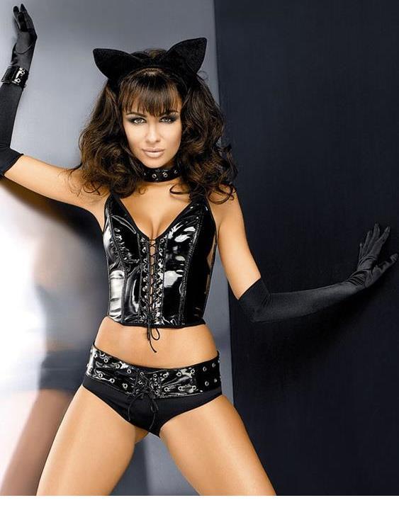 ¡Venta al por mayor! ¡Precio de 2018! Negra lencería Sexy, conjunto de encaje Halter, lencería Sexy de Catwoman, disfraz de gato vaginal para mujer