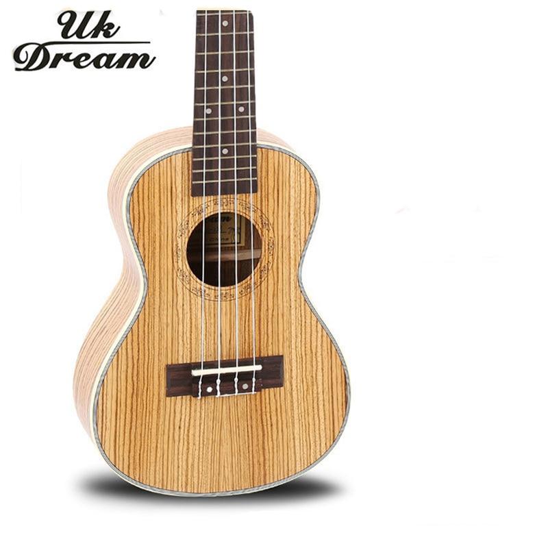 Mini guitarra Hawaiana de 23 pulgadas, guitarra acústica arqueada, ukelele Zebrano completo, 18 trastes, instrumentos musicales profesionales, guitarra UC-223