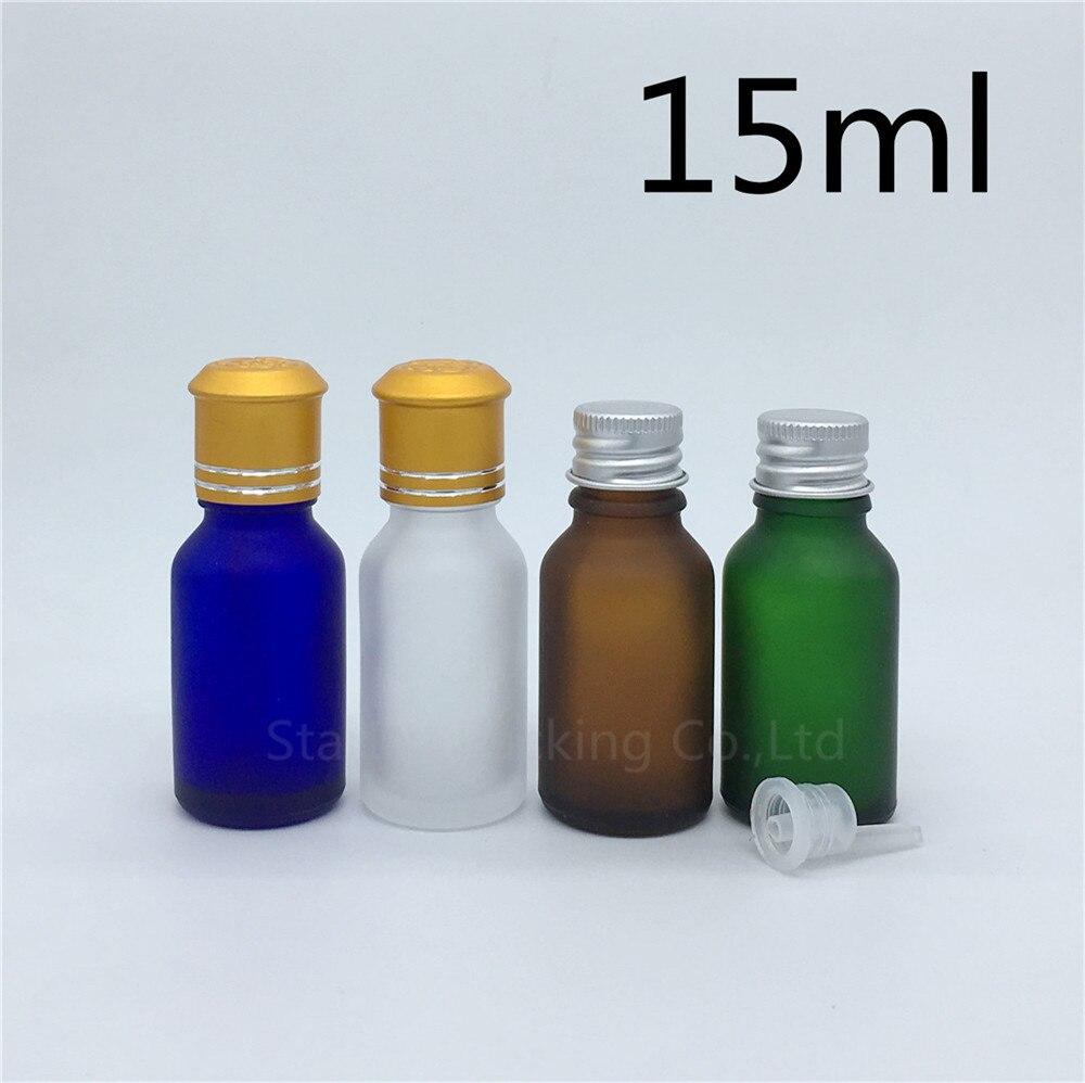 travel bottle 15ml Green blue amber transparent frosted Glass Bottle, Vials Essential Oil Bottle with Aluminum cap