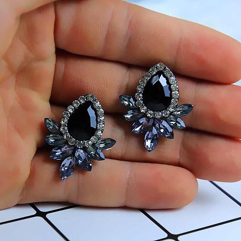 Nouveau femmes mode cristal boucles doreilles strass rouge/rose verre noir résine doux métal feuille boucles doreilles pour fille e0139