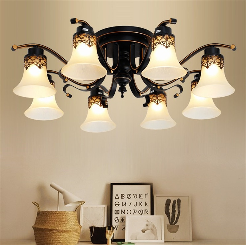 Lámpara de techo Vintage, lámpara de techo de araña de cristal de Metal antiguo, accesorio de lámpara Retro, Luminaria E27, bombilla Led, accesorio de lámpara Ming