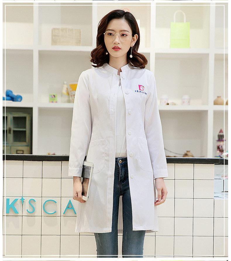 Abrigo blanco de manga larga con cuello levantado de Invierno para mujer, uniforme de enfermera para clínica dental, uniforme de médico ajustado