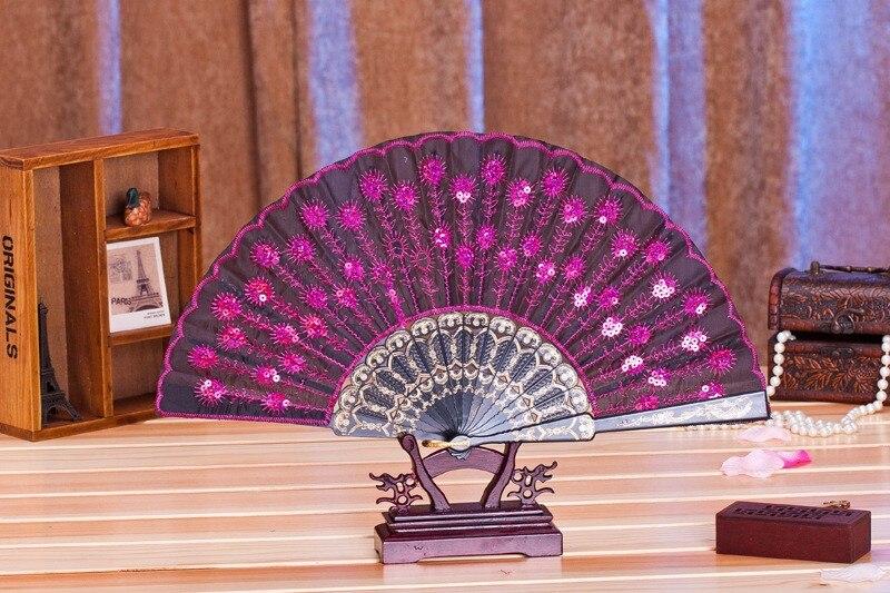 (50 أجزاء/وحدة) جديد عصري الترتر الطاووس مروحة اليدوية الرقص المراوح اليدوية الرقص إمدادات كثير من الألوان المتاحة
