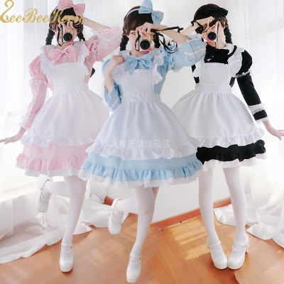 Alice in Wonderland Costume Lolita Dress Maid Cosplay Christmas Carnival Halloween Costumes F Women Maid Lolita Cosplay Costume