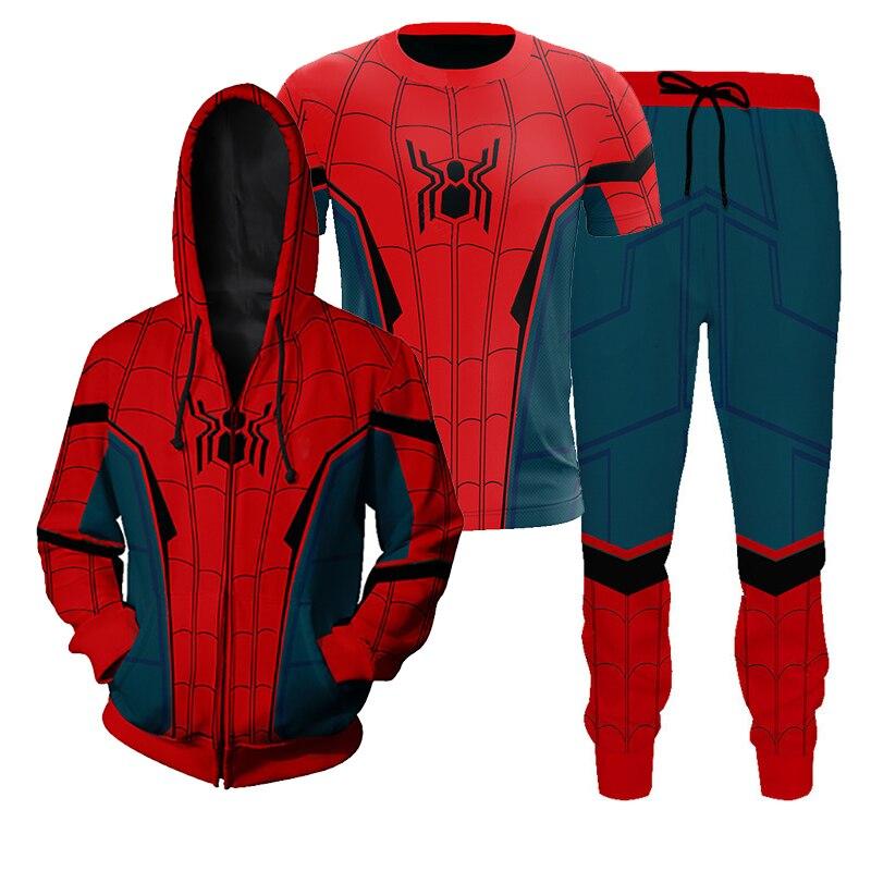 Aranha longe de casa vindo aranha cosplay traje 3d camiseta calças moletom masculino meninos trajes de halloween