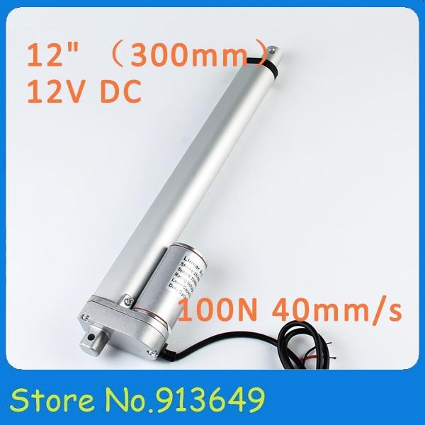 "Micro actuador lineal mini motor de 12v dc 300mm 12 ""golpe 100N 10KG carga 40 mm/s-1 PC"