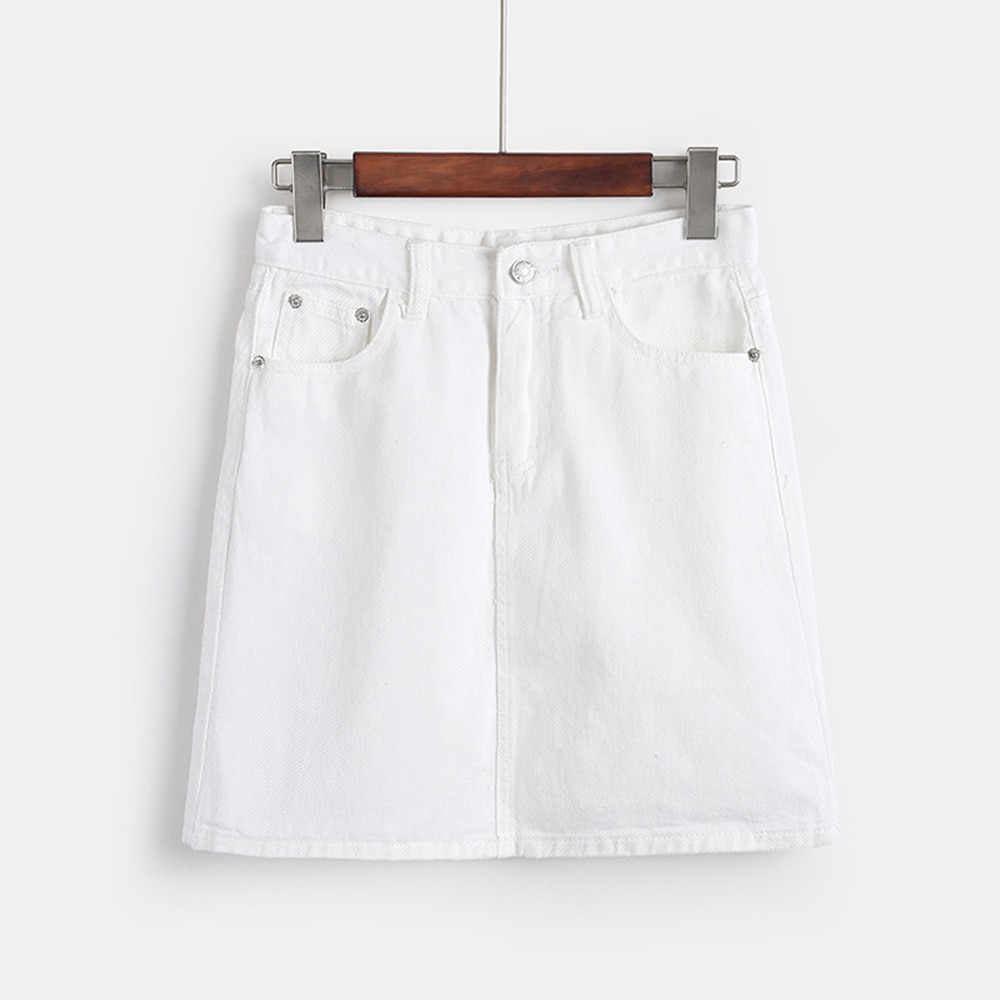 Falda blanca vaquera de verano para mujer, falda de cintura alta, con bordes irregulares Faldas vaqueras, falda lápiz informal lavada Mini Saia para mujer, novedad 2019