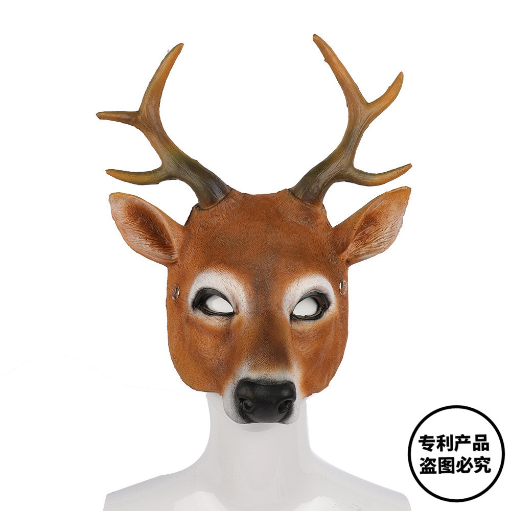 Cosplay Weihnachten Rentier 3D Tier Realistische Halloween Karneval Kostüm Ball Karneval Party Pu Schaum Latex Deer Kopf Maske
