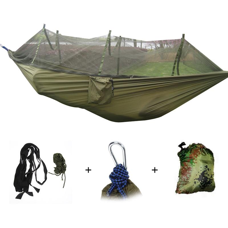 Hamaca portátil de exterior para 1-2 personas, colgante de acampada, cama para dormir con mosquitera, hamaca de paracaídas relajante para Columpio de jardín