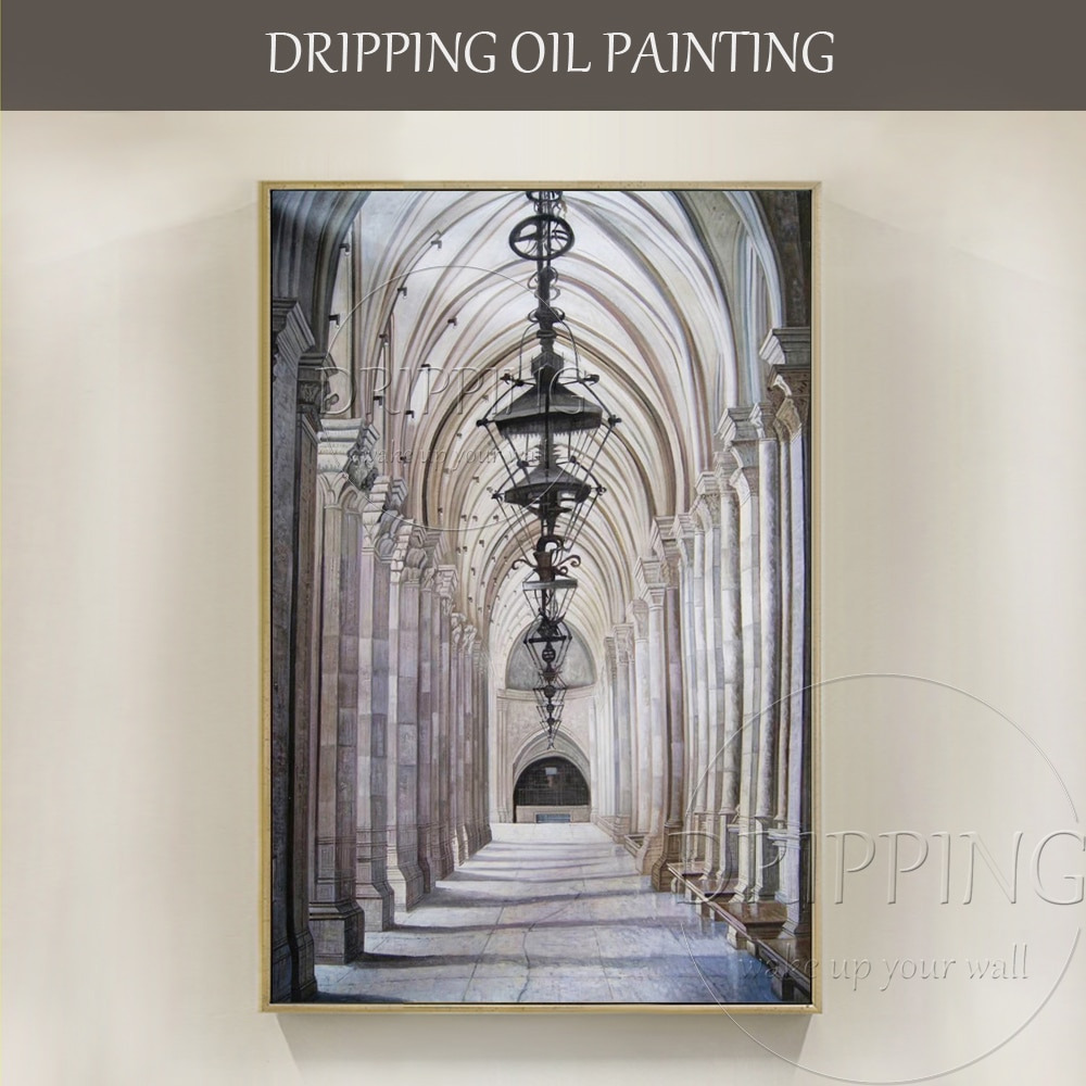 Excellent Artist Hand-painted High Quality Church Oil Painting on Canvas Special Wall Art Beautiful Church Interior Oil Painting