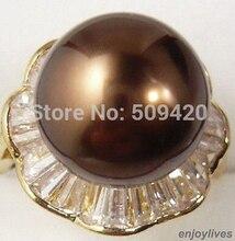Hot verkopen Chocolade Bruin South Sea Shell Parel Kristal Bloem Gouden Ring Maat 7.8.9> Bridal sieraden gratis verzending