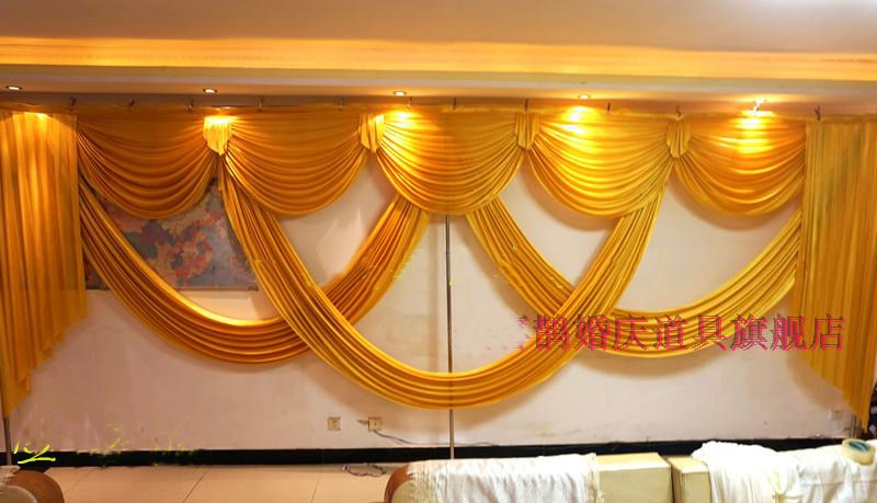 Luxury and elegant 6 meter long Gold wedding swags for wedding backdrop drapery event party decoration
