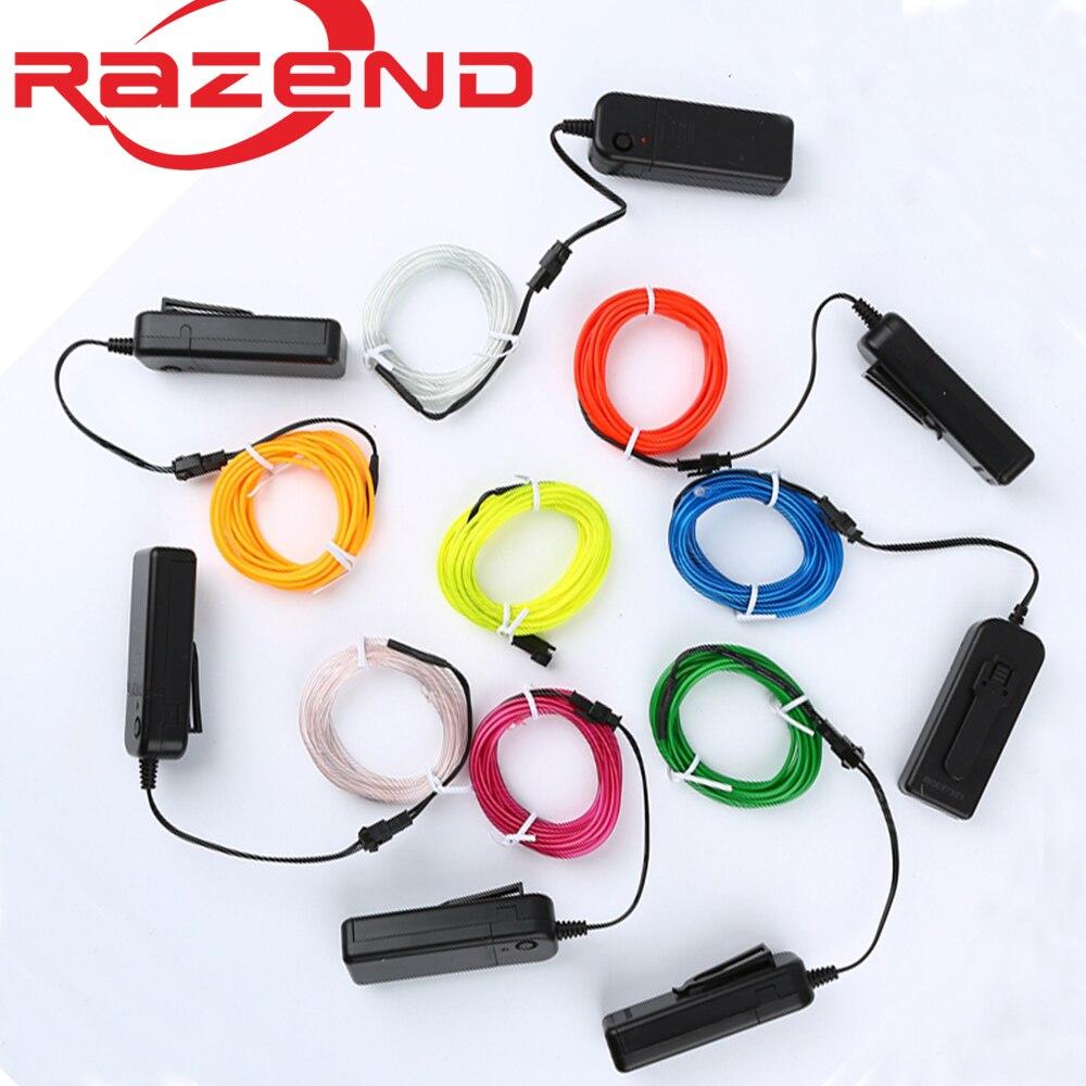 1m/3m/5M 3V Flexible Neon Light Glow EL Draht Seil band Kabel Streifen LED Neon Lichter Schuhe Kleidung Auto wasserdichte led streifen Neue