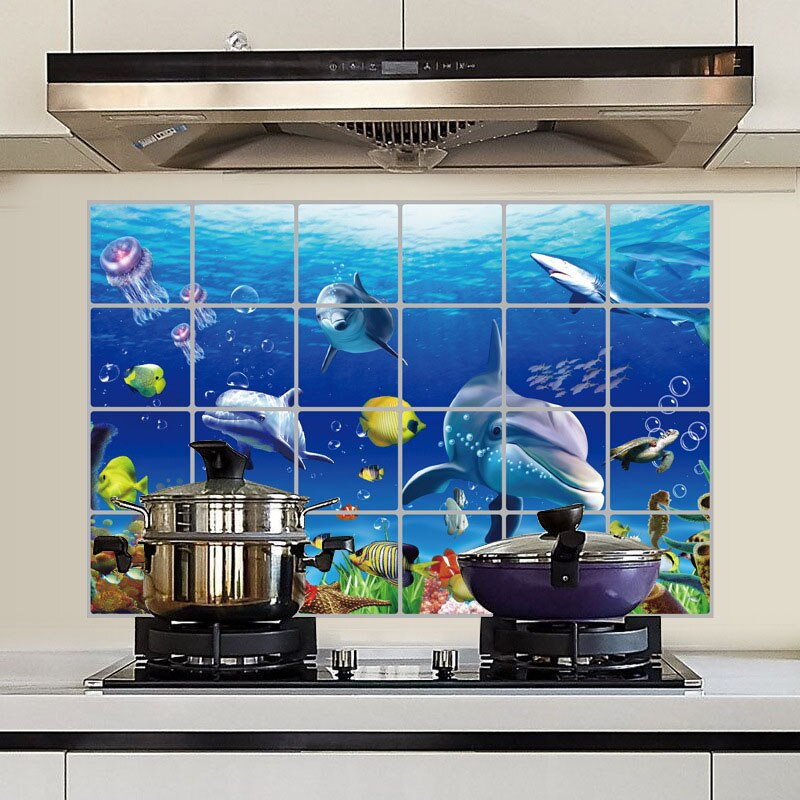 Pegatina de pared de papel de aluminio impermeable de 60x90cm, azulejos de cocina, baño, pared del mundo marino, accesorios de decoración para el hogar 8 LXY9