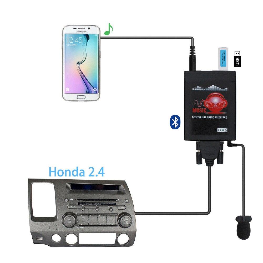 Moonet adaptador bluetooth carro mp3 usb/aux 3.5mm estéreo auto sem fio mãos livres para rádio apto para honda 2.4 accord civic odyssey