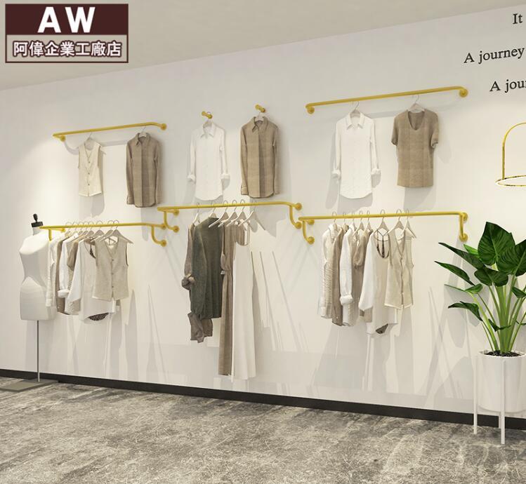 Cremalheira de exposição das mulheres loja de roupas rack de cabide, pendurado na parede lateral de ouro tubo de aço inoxidável cabide cabide