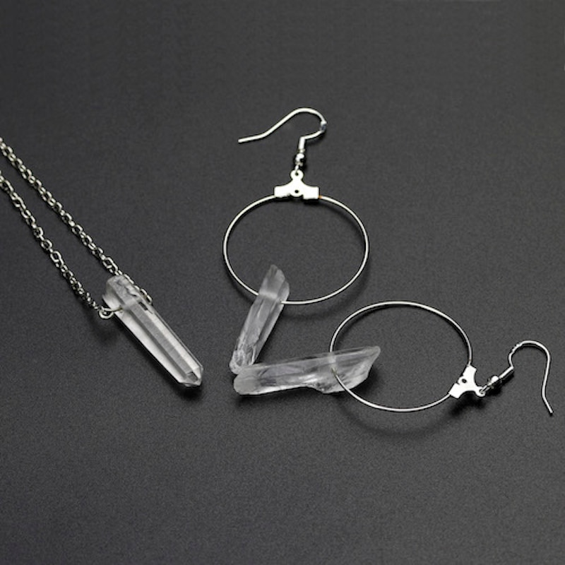 Pendientes de aro de círculo de piedra de Clera de cristal blanco COLLAR COLGANTE hecho a mano para mujer conjuntos de joyas dijes regalo de boda