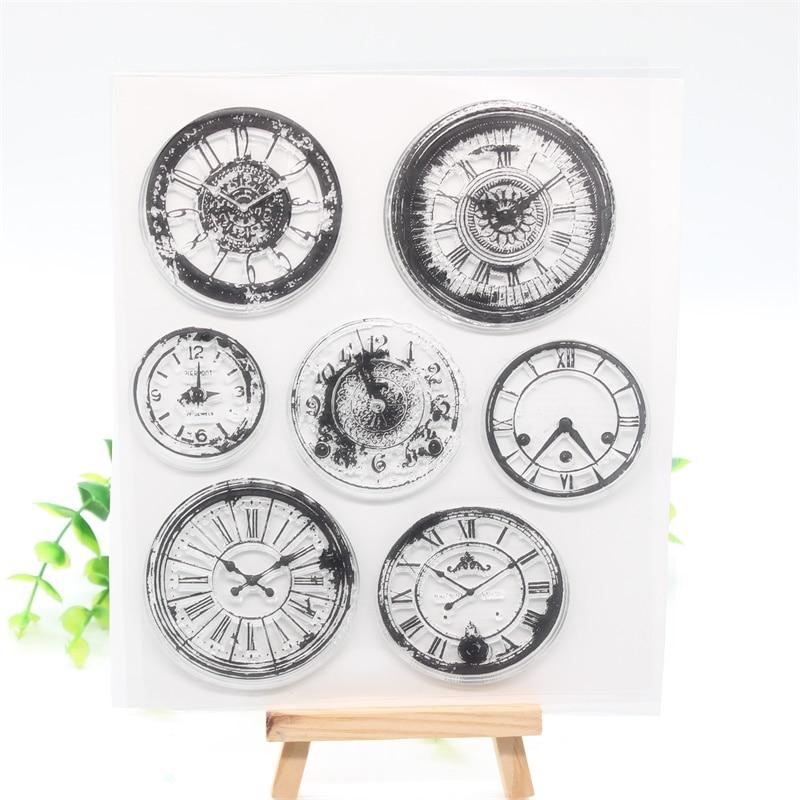 ZFPARTY staromodny zegar przezroczysty pieczęć silikonowa/pieczęć do DIY scrapbooking/ozdobny album na zdjęcia tworzenie kartek