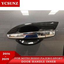 2016-2019 For Mitsubishi Pajero Sport part carbon fiber door handle inserts For Pajero Sport accessories  2016-2019  YCSUNZ