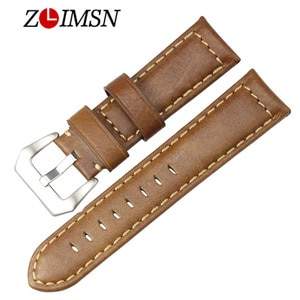 ZLIMSN Retro fashion Superior Quality Genuine Leather Bright  Brown Men Metal Pin Buckle Accessories 20mm 22mm 24mm 2018