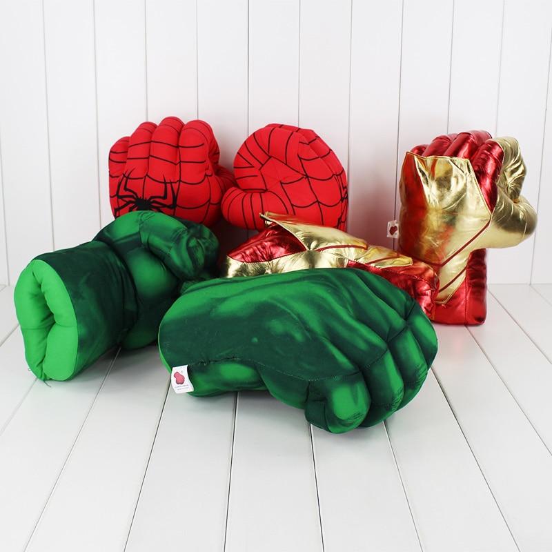 30cm New Iron Man 3 Ironman Incredible Hulk Smash Hands Spider Man Plush Gloves Performing Props Toys 3 styles