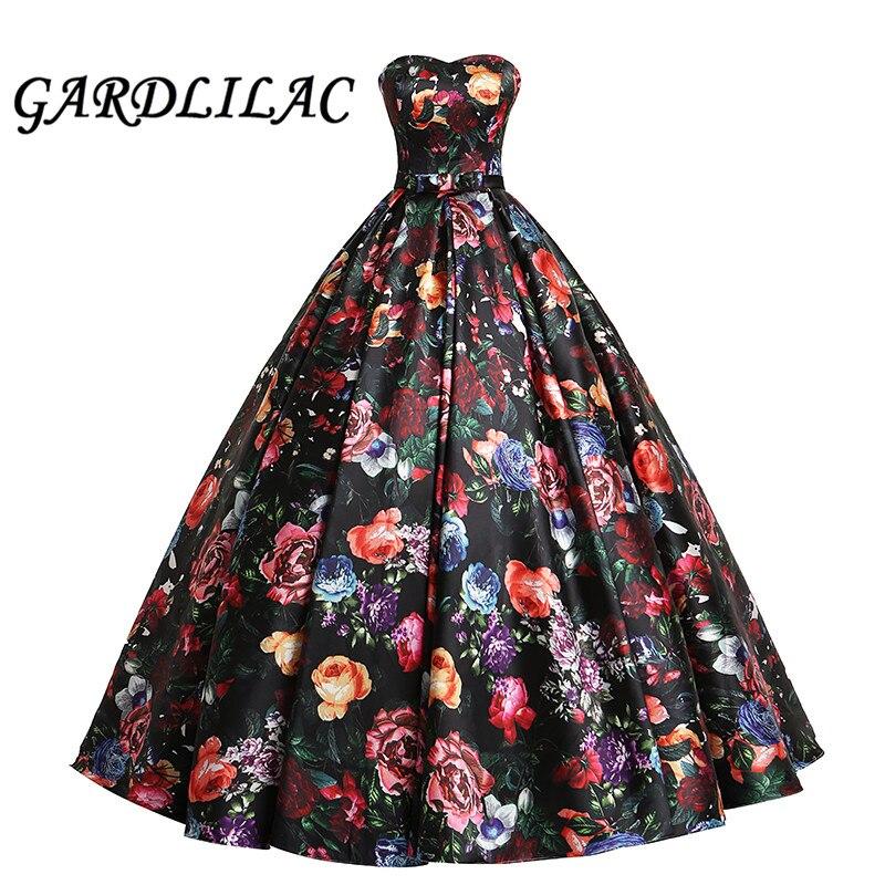 Gardlilac cariño bola Vestido De fiesta Vestido largo 3D estampado Floral vestidos formales Vestido De fiesta Formal Vestido De dulce 16 vestidos G0135