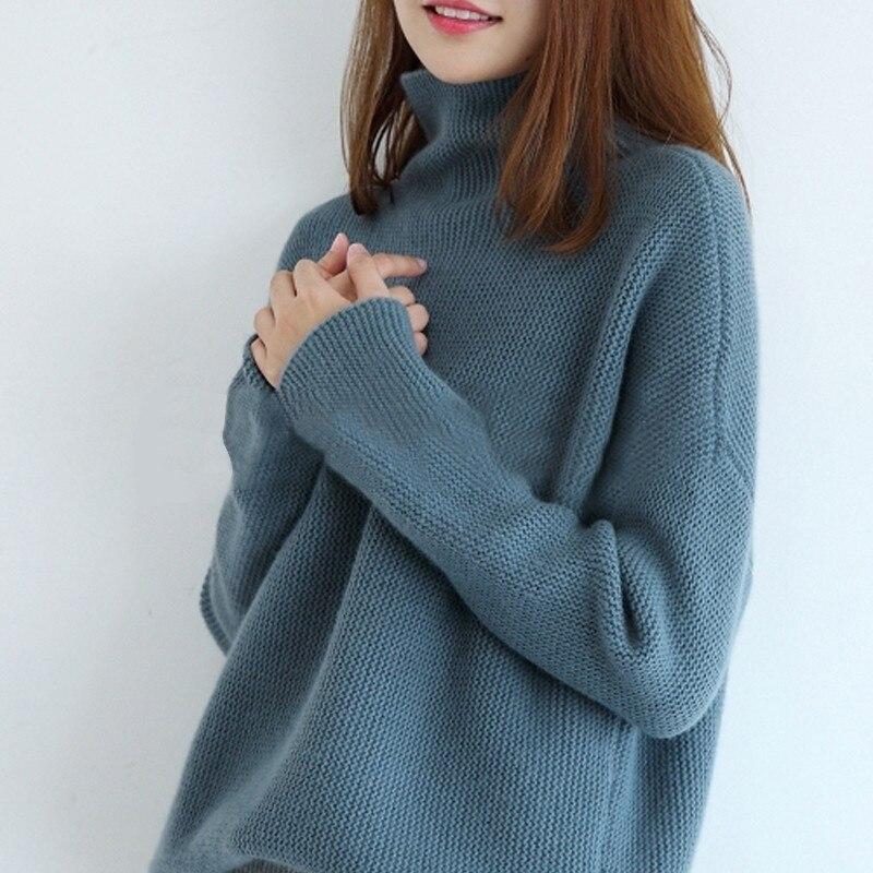 2018 Jersey nuevo pullover de cachemira pura para mujer versión suelta tipo casual suéter cálido para invierno suéter grueso