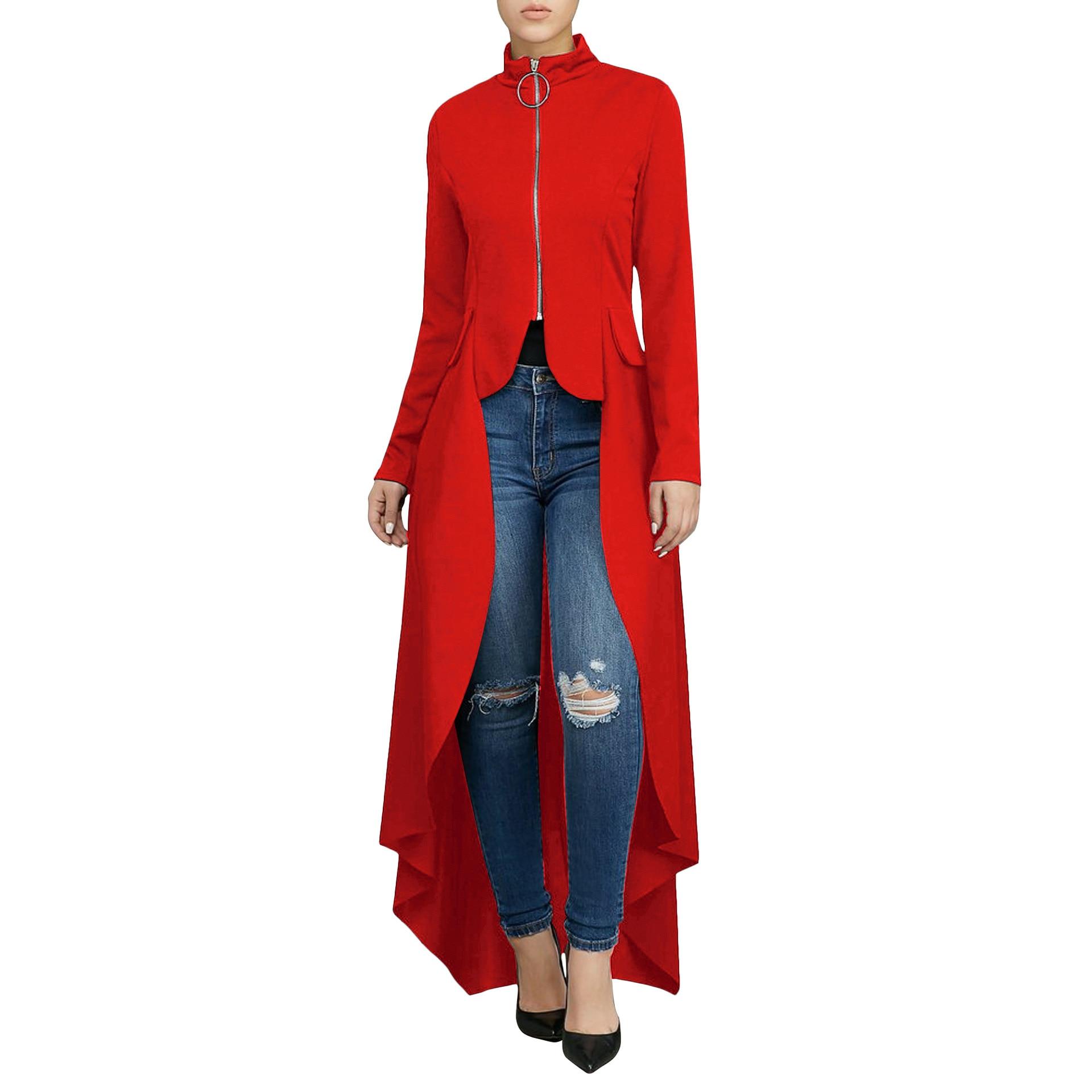Women Zip Maxi Tunic Loose Blouse Ladies Autumn Stylish Elegant Long Sleeve High Low  Top Plus Size 7 Colors