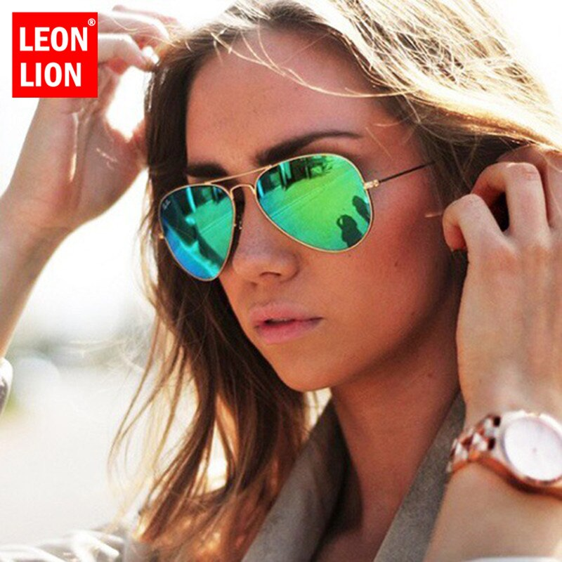 LeonLion 2021 Pilot Mirror Sunglasses Women/Men Brand Designer Luxury Sun Glasses Women Vintage Outd
