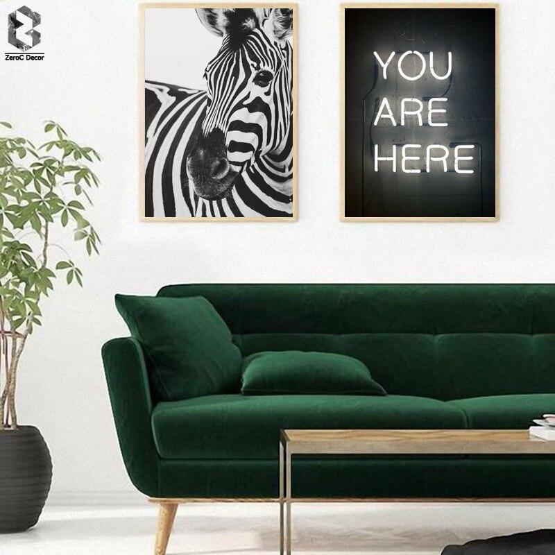Escandinavo blanco y negro cartel nórdico, arte de la pared de la lona impresión Animal pintura de cebra cuadro decorativo de citas de decoración para el hogar
