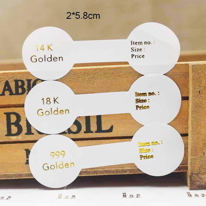 100 PCS drucken 999 goldene folie ring etiketten 14 karat/18 karat goldene gefaltet ring etiketten DIY kraft handmade iwth liebe ring etiketten 2*5,8 cm