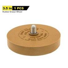 """Rueda de goma de 3,5 """"para adhesivo, pegatina, raya, calcomanía y removedor gráfico con adaptador de taladro de 1/4"""""""