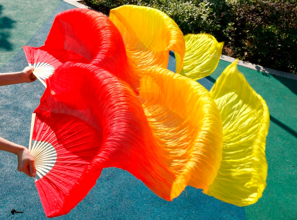 Hits High Selling Women Quality Silk Belly Dance Fan Dance 100% Real Silk Veils 1 Pair 180*90 CM Red+Orange+Yellow недорого
