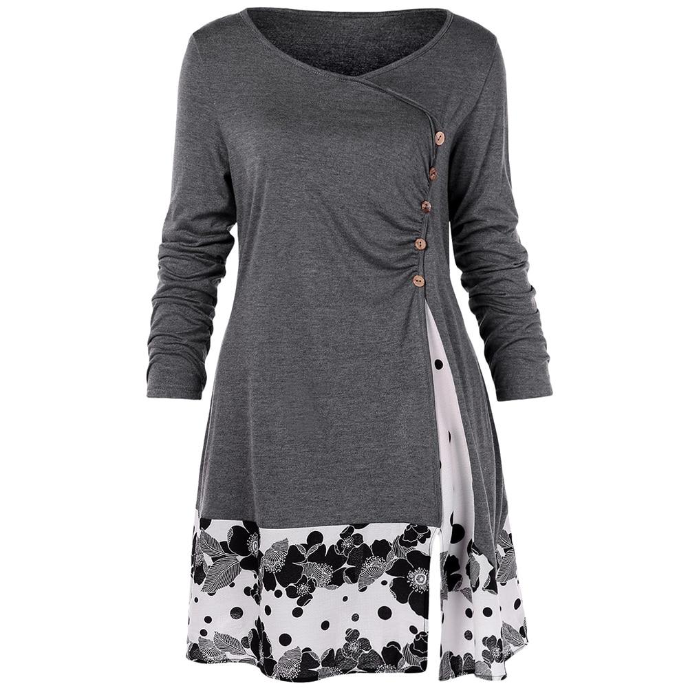 Camisa de túnica larga Floral drapeada de talla grande 5XL, manga larga, cuello redondo, botones embellecidos, blusa de mujer, camiseta Casual de primavera