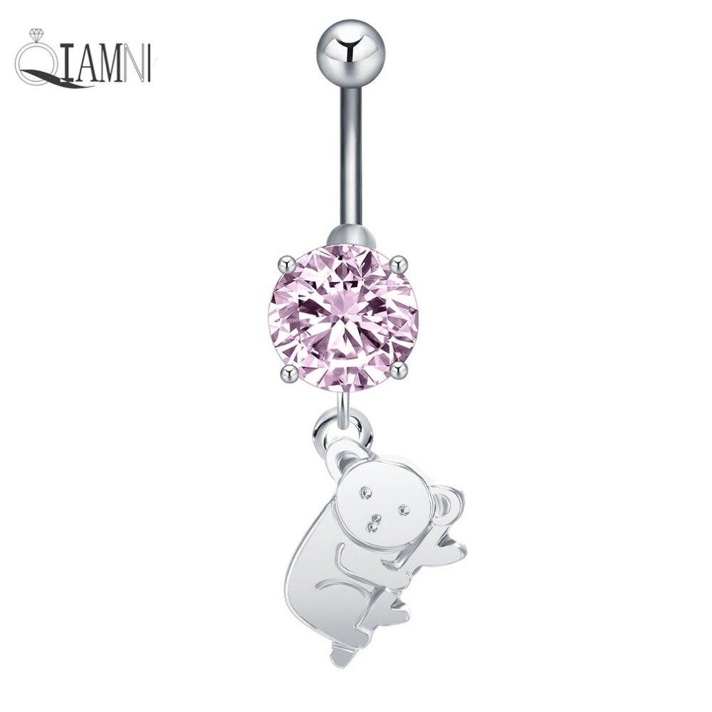 QIAMNI oso animal Koala cristal colgante botón anillos de haltera Piercing ombligo Sexy Acero quirúrgico cuerpo joyería chica mujeres