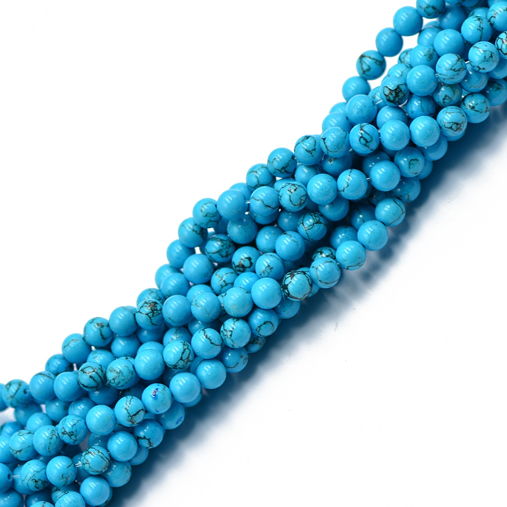 6mm Sky Synthetic Howlite with Lines Round Stone Loose Beads 15' Bracelet DIY