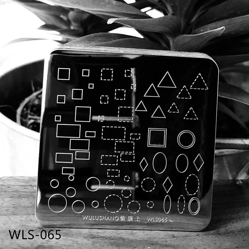 New WLS 6*6cm Geometric Nail Art Stamp Template Plates WLS Nail Stamping Plates Square Image DIY