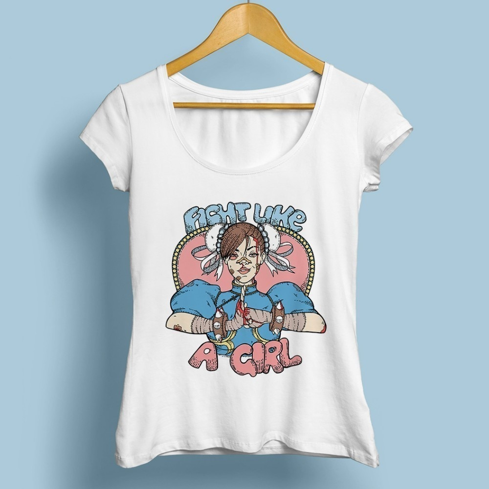 Fight like a girl Sailor Moon chun-li camiseta bonita feminista mujeres 2018 blanco nuevo pantalón corto casual manga o-cuello kawaii femme camiseta
