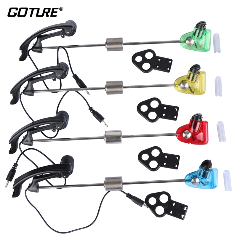 Goture 4 unids/lote Swinger de pesca 4 colores suspensión alarma de mordedura de Pesca iluminado pez electrónico Strike LED luz indicadora