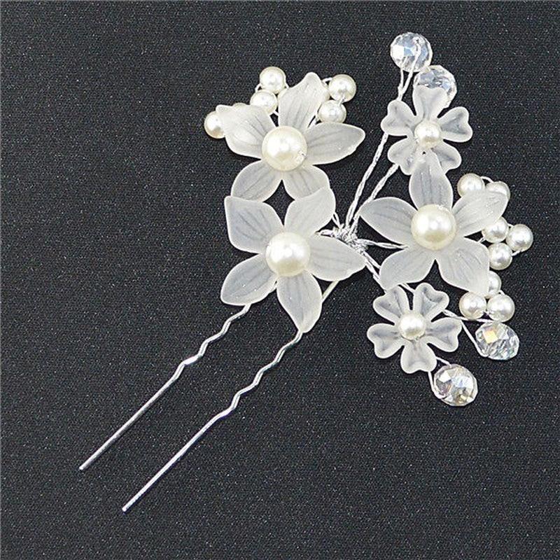 Elegant Wedding Hair Jewelry Crystal Imitated Pearl White Flower Hair Pins Charm Handmade Bridal Hair Accessories Hair Ornaments