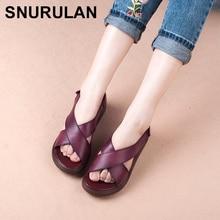 SNURULAN Women's Sandals Genuine Leather Roman Style Ladies Shoe Women Sandals Summer 2018 Thick Sole Non-slip Woman ShoesE224
