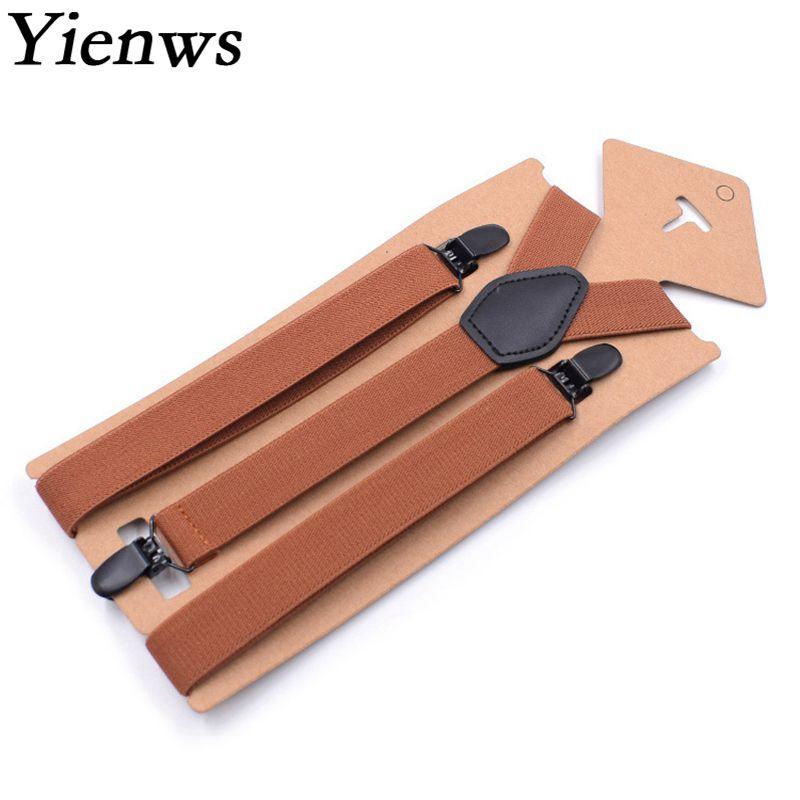 Suspensorio Yienws Y Volta Suspensórios para Os Homens Do Vintage Marrom 3 Clip-on Calças Suspensórios Suspensórios para Calças Dos Homens 2.5*110 cm YiA086