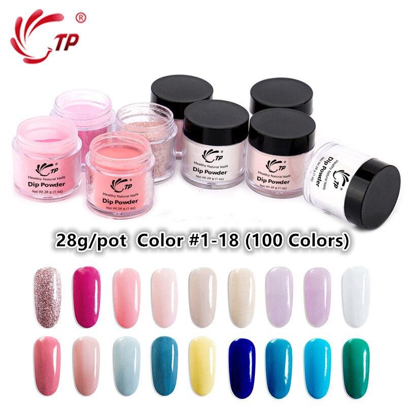 TP 28g 1oz #1-18 Color Nail Dipping Powder No Lamp Cure Acrylic System Dip Powder Decor 14ml Top Base Gel Sealer Dry Brush Saver