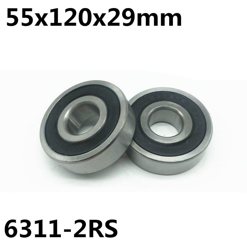 1 قطعة 6311-2RS الكرة تحمل 55x120x29mm أخدود عميق الكرة تحمل 6311RS 6311 شحن مجاني