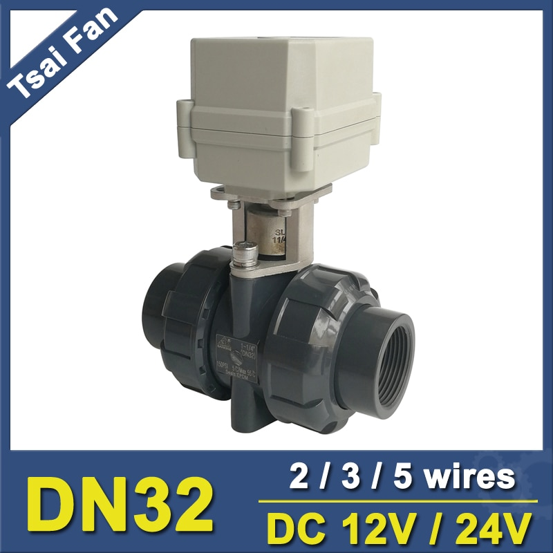 TF32-P2-C 2 طريقة DN32 PVC الكهربائية الميكانيكيه صمام BSP/NPT 11/4 ''DC12V 3 أسلاك 10NM المحرك صمام على/قبالة 15 ثانية ميتال جير CE